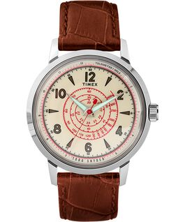 Timex x Todd Snyder Beekman 40mm Leather Strap Watch Stainless-Steel/Brown/Cream large