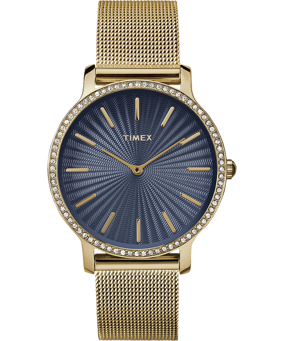 Metropolitan with Swarovski 34mm Stainless Steel Mesh Watch Gold-Tone/Blue (large)