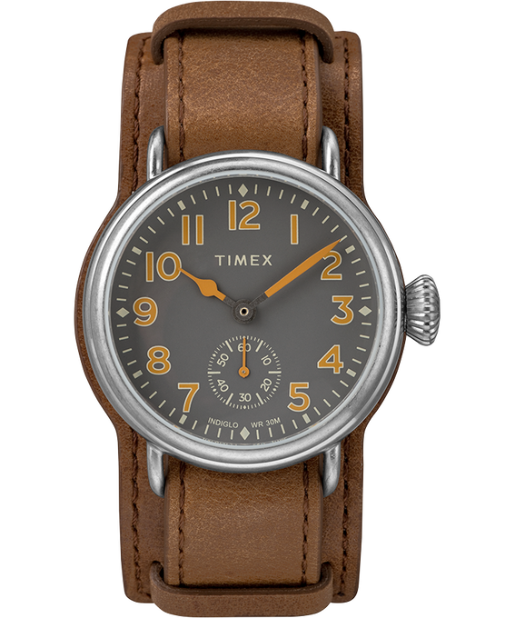 Welton 38mm Leather Strap Watch Stainless-Steel/Brown/Black large