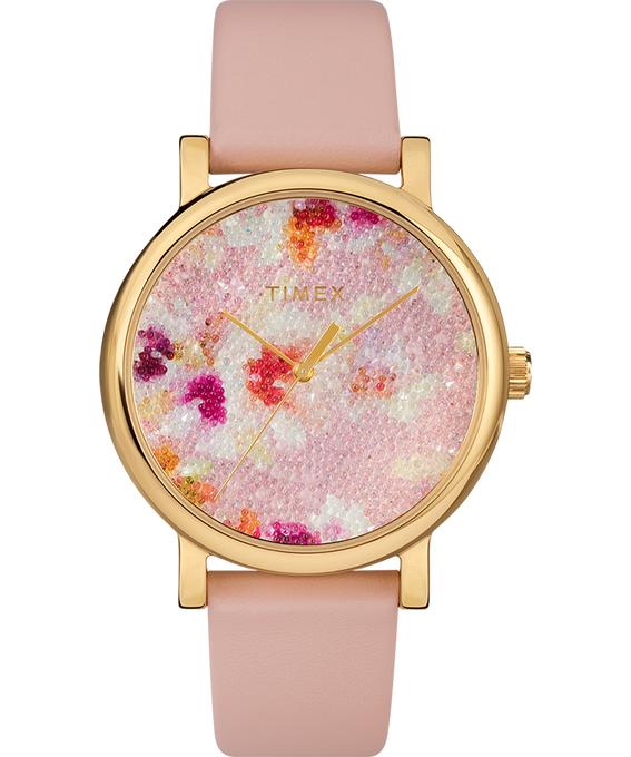 Crystal Bloom with Swarovski Fabric 38mm Leather Watch Rose-Gold-Tone/Pink (large)