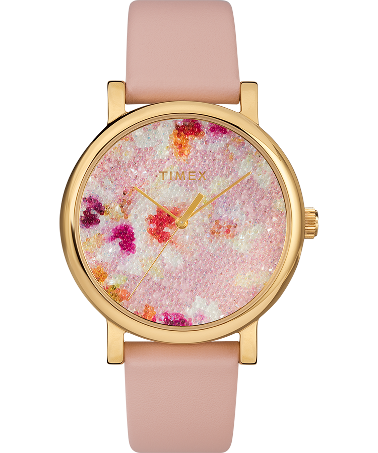 Crystal Bloom With Swarovski Crystals 38mm Leather Strap Watch