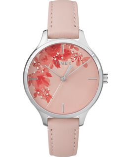 Crystal Bloom with Swarovski Elements 36mm Leather Watch Chrome/Pink large