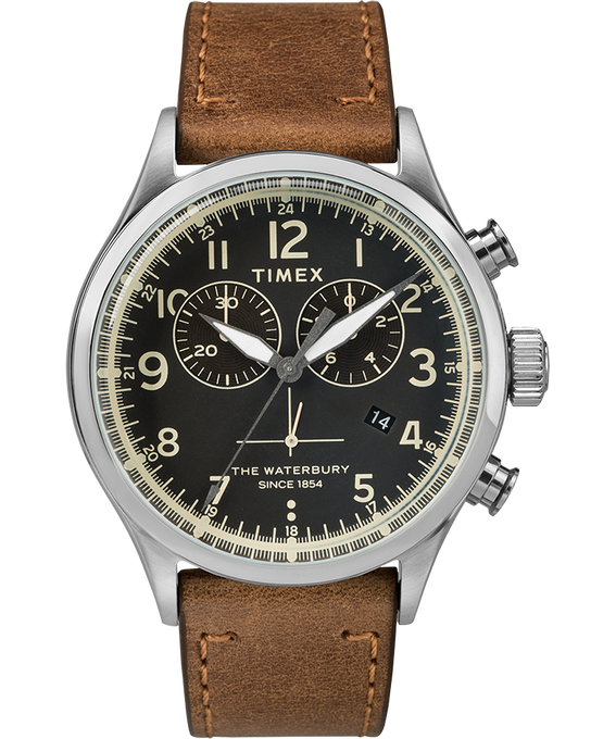 Chronograph Numbered Dial 42mm Leather Watch in Tan - Front View