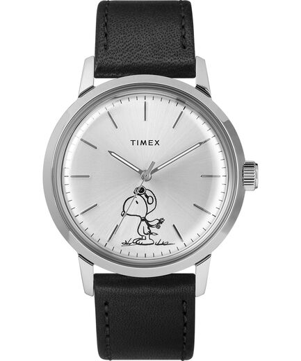 bc5f7cc0acc6 Timex X Peanuts - Marlin® Automatic Featuring Snoopy 40mm Leather Strap  Watch Black/Silver