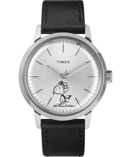 Marlin 40mm automatic featuring snoopy leather strap watch timex for Snoopy watches