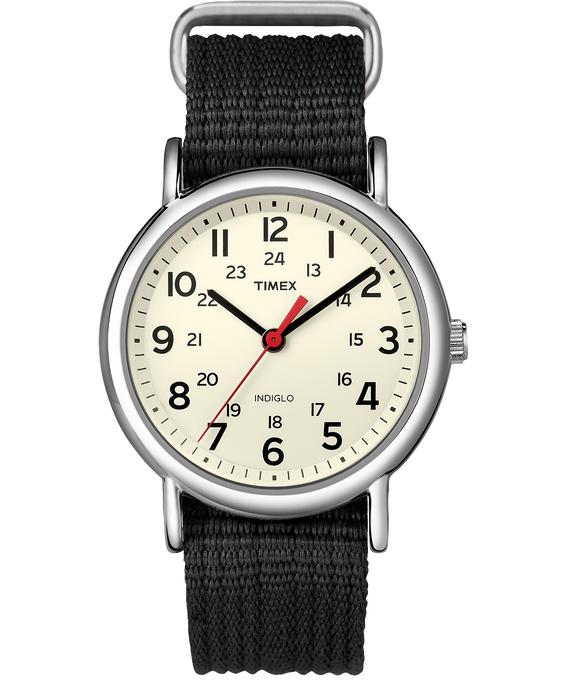 Weekender 38mm Nylon Strap Watch Silver-Tone/Black/Cream (large)