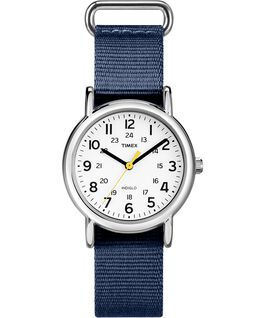 Weekender 31mm Fabric Strap Watch Amz Silver-Tone/Blue/White large