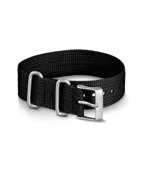 20mm Fabric Slip-Thru Single Layer Strap Black large