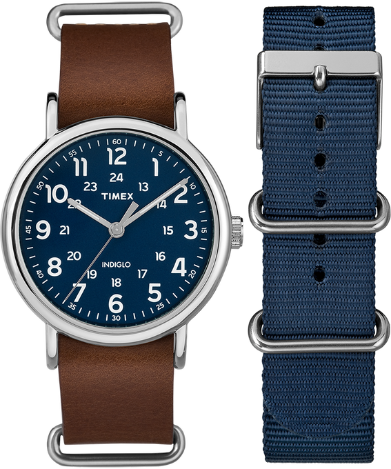 Weekender 40mm Brown Strap/Blue Dial Gift Set  large