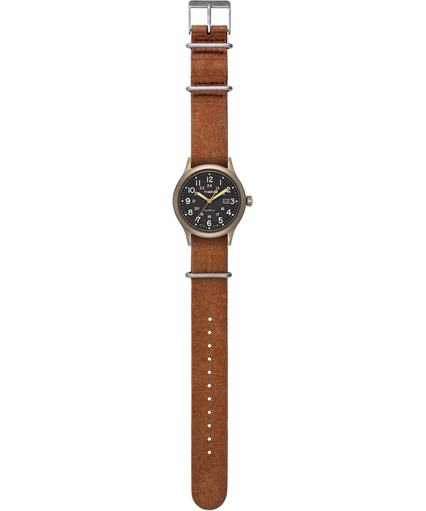 Allied 40mm Stone Washed Leather Strap Watch Bronze-Tone/Brown/Black large