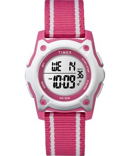 Youth Digital 35mm Double Layer Striped Nylon Strap Watch Pink/White large