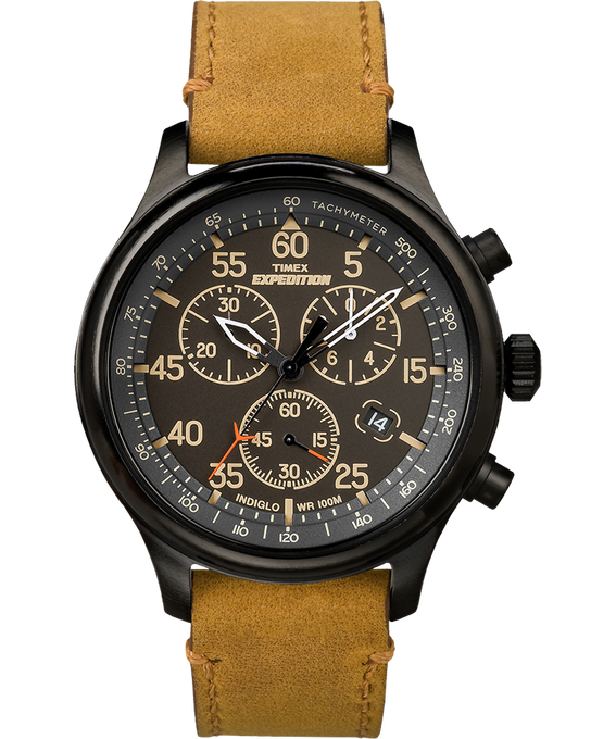 Expedition Field Chronograph 43mm Leather Watch Black/Tan large