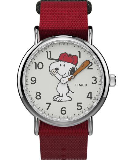 d0d1a2d7d857 Timex x Peanuts - Snoopy 38mm Fabric Strap Watch Silver-Tone Red White