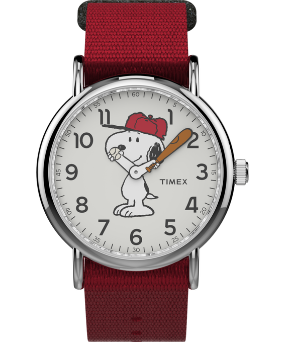 Snoopy 38mm Nylon Strap Watch Silver-Tone/Red/White (large)