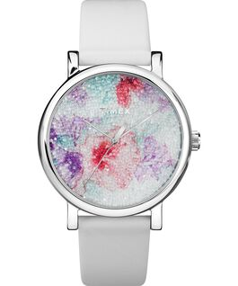 Crystal Bloom With Swarovski® Crystals 38mm Leather Strap Watch Chrome/White large
