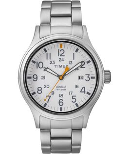 Allied 40mm Stainless Steel Watch Silver-Tone/White large