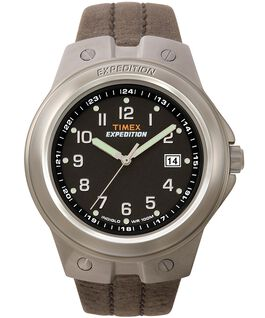 Expedition Metal Tech 40mm Leather Watch Silver-Tone/Brown/Black large