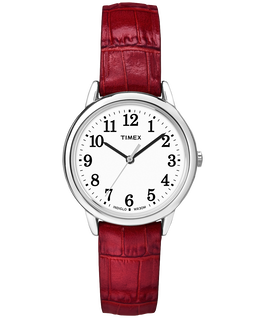 Easy Reader 30mm Leather Watch Silver-Tone/Red/White large