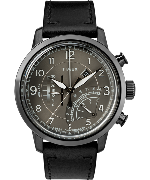 Waterbury Linear Chronograph 45mm Leather Watch  (large)
