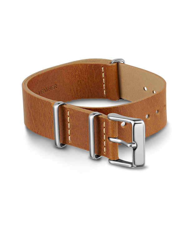 20mm Leather Slip-Thru Double Layer Strap Tan large