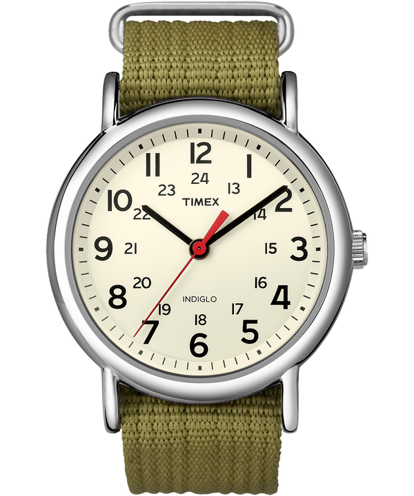Weekender 38mm Fabric Strap Watch Silver-Tone/Green/Cream large