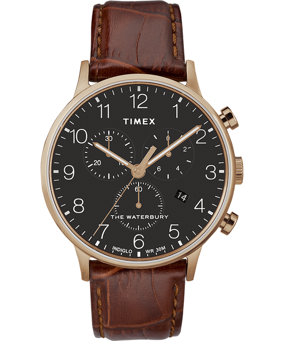 Waterbury 40mm Classic Chrono Leather Strap Watch Rose-Gold-Tone/Brown/Black (large)