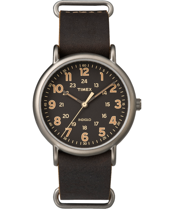 Weekender 40mm Leather Watch Titanium/Brown/Black large