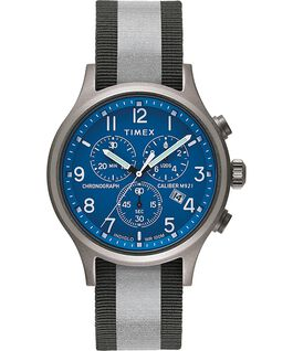 Allied Chronograph 42mm Reflective and Reversible Fabric Strap Watch Silver-Tone/Blue large