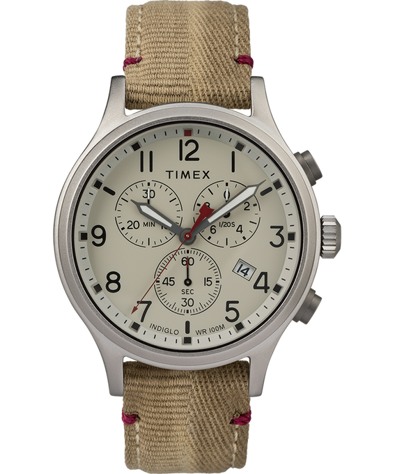 Allied Chronograph 42mm Fabric Strap with Red Accent Watch Silver-Tone/Tan/Natural (large)