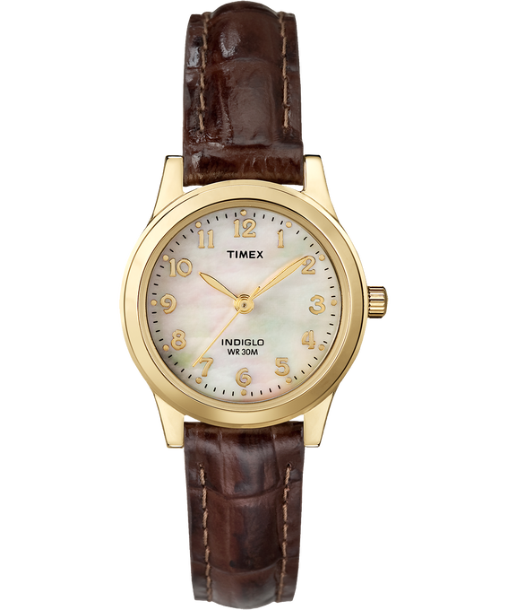 Easy Reader 25mm with Date Leather Watch Gold-Tone/Brown/Mother-of-Pearl large