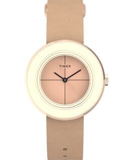 Variety 34mm Leather Strap Watch Rose-Gold-Tone large