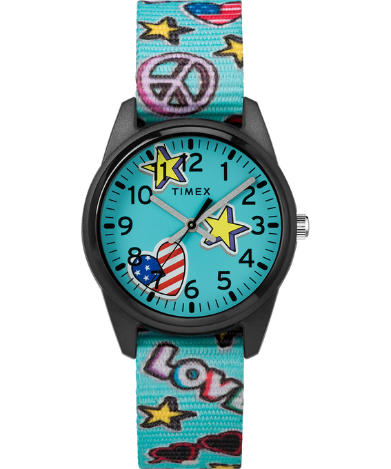 32mm Kids Analog Fabric Patterned Strap Black/Blue large
