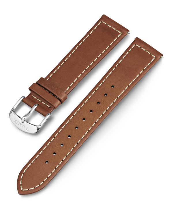 20mm Leather with White Stitching Replacement Strap  large