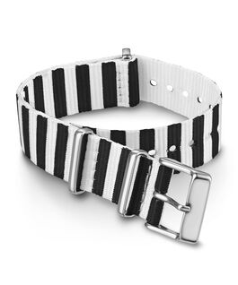 18mm Striped Fabric Slip-Thru Double Layer Strap Black large