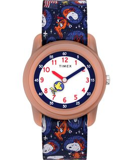 Timex x Space Snoopy Kids Analog 28mm Elastic Fabric Strap Watch Orange/Blue large