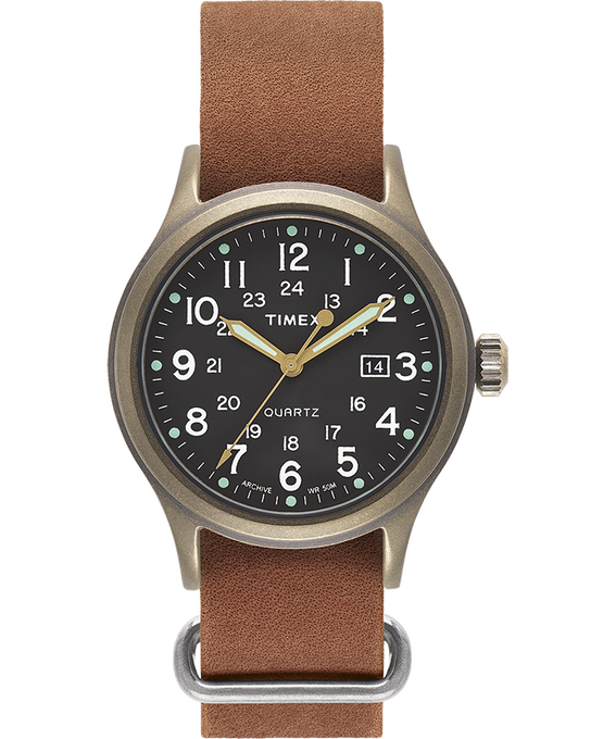Allied 40mm Stonewashed Leather Strap Watch