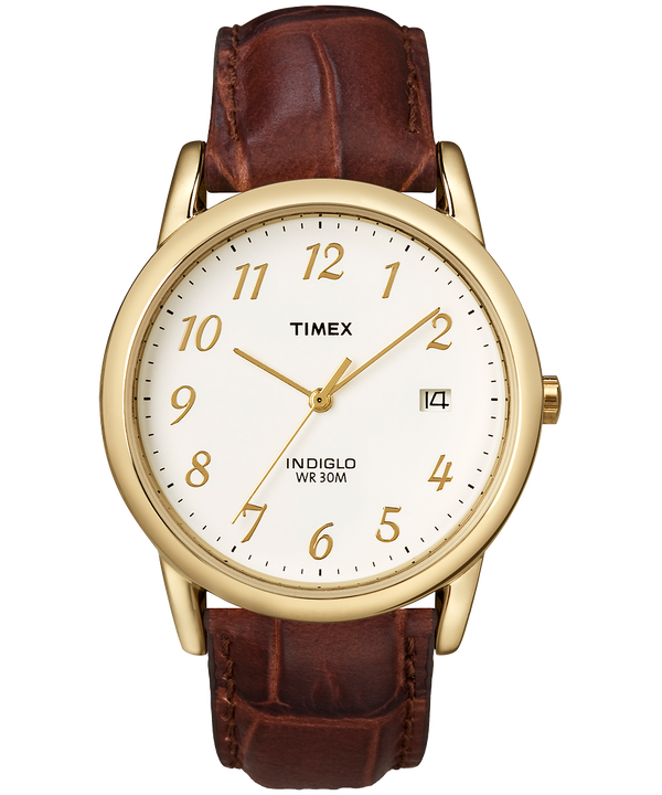 Easy Reader 35mm Leather Strap Watch Gold-Tone/Brown/Natural large