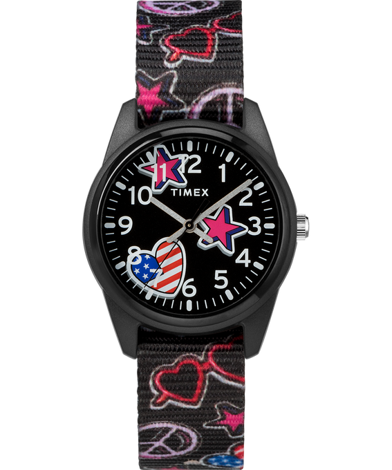 32mm Kids Analog Fabric Patterned Strap Black large