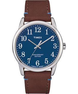 Easy Reader 40th Anniversary Special Edition 38mm Leather Watch Silver-Tone/Brown/Blue large