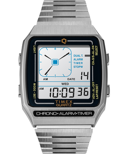 Q Timex Reissue Digital LCA 32.5mm Stainless Steel Bracelet Watch Stainless-Steel large