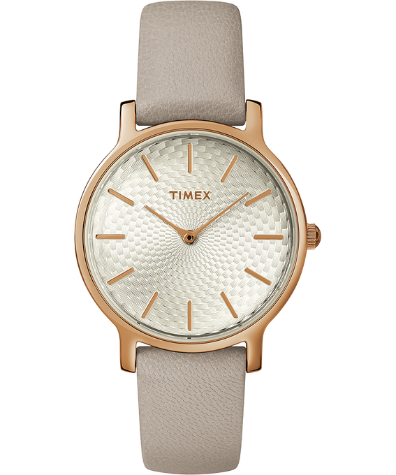 Womens Metropolitan 34mm Leather Strap with Rose Gold Rose-Gold-Tone/Gray large