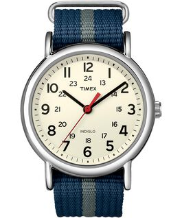 Weekender Stripe 38mm Nylon Strap Watch Silver-Tone/Blue/White large
