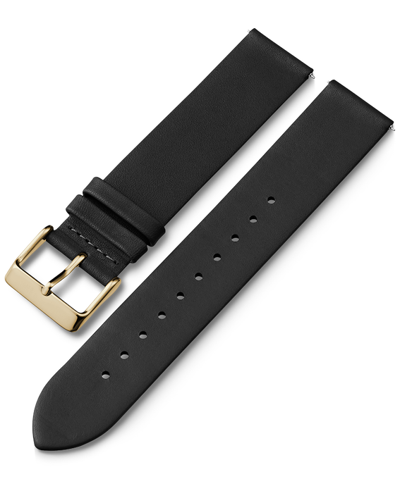 20mm Silver Buckled Quick Release Leather Strap Black large