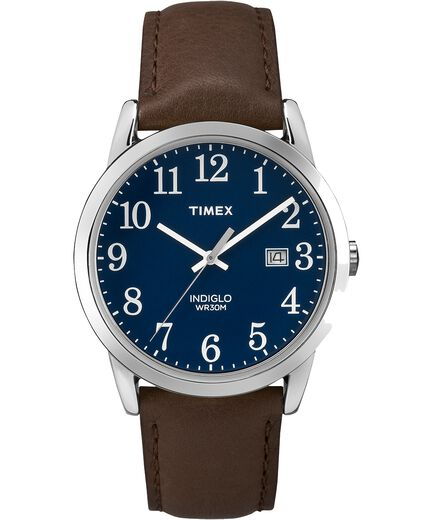 38a657acb Easy Reader 38mm Leather Strap Watch Silver-Tone/Brown/Blue large