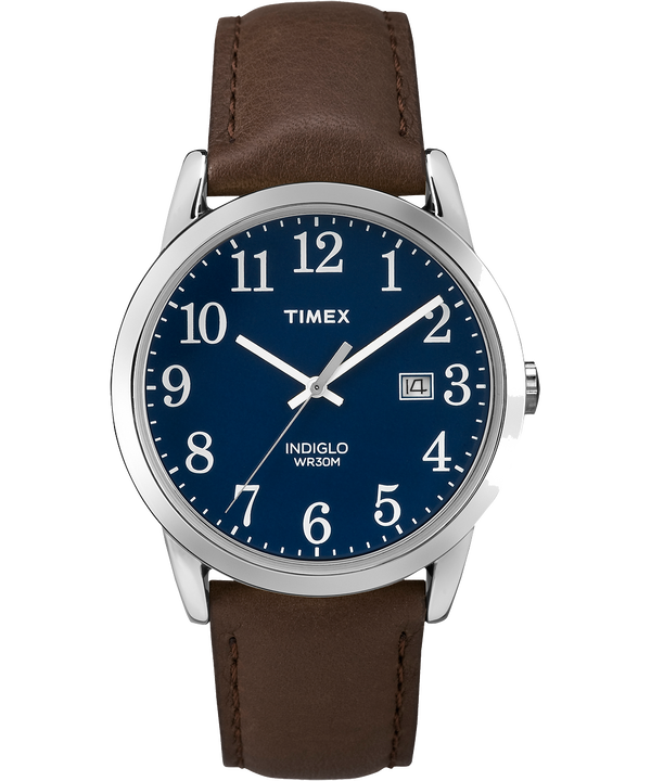 Easy Reader 38mm Leather Strap Watch Silver-Tone/Brown/Blue large