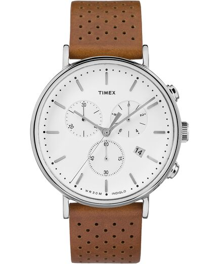 30246ddf9975 Fairfield Chronograph 41mm Leather Strap Watch Silver-Tone Tan White large