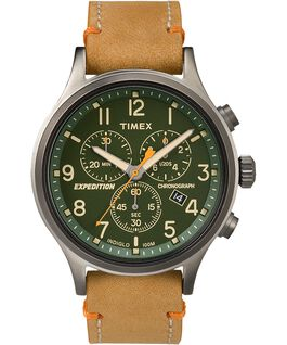 Expedition Scout Chronograph 42mm Leather Watch Gray/Tan/Green large