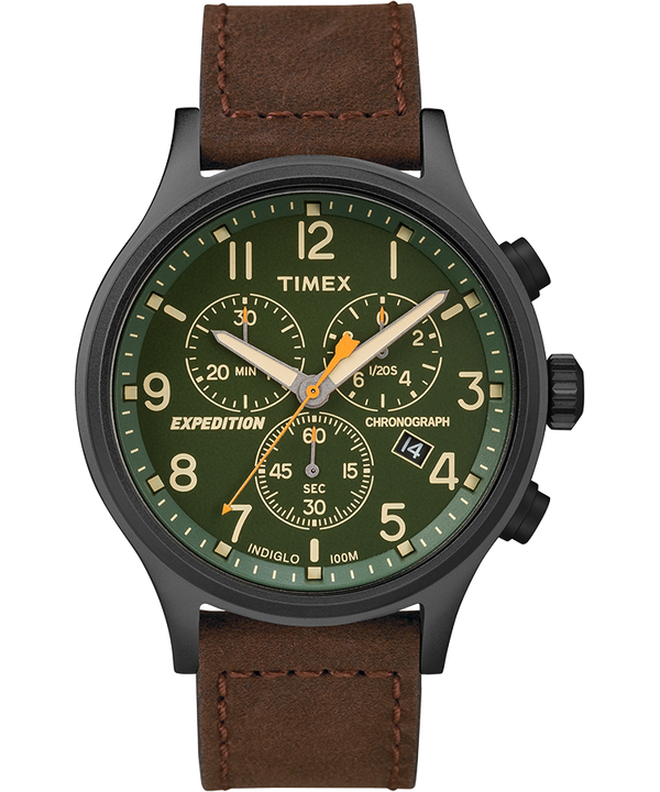 Expedition Scout Chronograph 42mm Leather Strap Watch Black/Brown/Green large