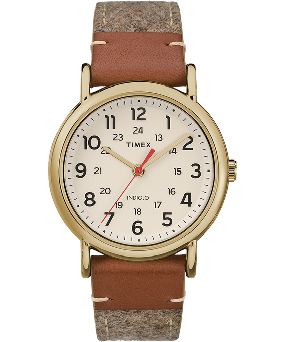Weekender 38mm Fabric with Leather Watch Gold-Tone/Tan/Cream (large)