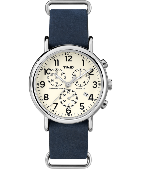 Weekender Chrono 40mm Leather Watch Silver-Tone/Blue/Cream large